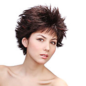 Capless Short Synthetic Brown With Auburn Straight Punk Style Hair Wig