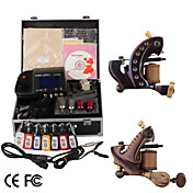 damascus de hand gemaakte 2 tattoo machines kit met een superieure LED voeding