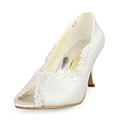 NORMINA - Peep Toe Bryllup Brude- Stilletthler Satin Lisser