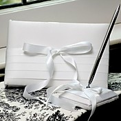 Pure White Guest Book And Pen Set With Ribbon Bow