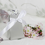 """With This Ring"" Silver Favor Box With White Ribbon (Set of 12)"