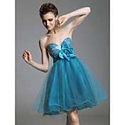 A-line Sweetheart Short/Mini Empire Taffeta And Tulle Cocktail Dress