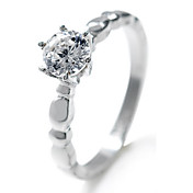 Shining Round Shape CZ Cubic Zirconia And Stainless Steel Ring