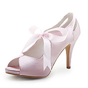Satin Upper High Heel Peep-toes With Sash Wedding Bridal Shoes
