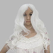 Capless Long Heat-resistant Fashion White Costume Party Wig