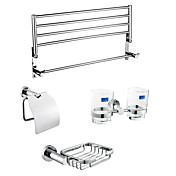 Chrome Finish Bathroom Hardware Accessory Set With 24 Inch Towel Shelf