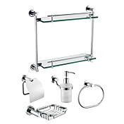Chrome Finish 5-Piece Bathroom Hardware Accessory Set With Double Layer Glass Bracket