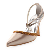 Top Quality Satin Upper High Heel Closed-toes With Beading Wedding Bridal Shoes