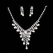 White Rhinestone/Pearls And 925 Silver Necklace & Earring Set