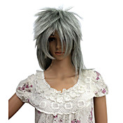 Capless Short High Temperature Wire Silver Gray Afro Costume Party Wig