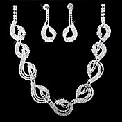 Chic Cubic Zirconia Bridal Necklace And Earring Set