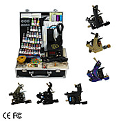 6 Guns Tattoo Kit with  LCD Power and 46 Color Ink + Free 60ml Black Ink