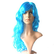 Capless Long 100% Kasi Fiber Light Blue Costume Party Wig
