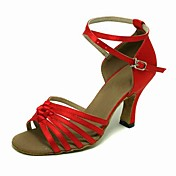 High Quality Red Satin Upper Ballroom Dance Shoes Latin Shoes for Women