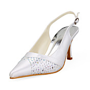 Satin Upper Stiletto Heel Rhinestone Slingbacks Wedding Shoes More Colors