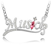 &quot;Music&quot; Crystal With Platinum Plating Necklace (More Colors)
