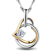 Heart Shape Cubic Zirconia Necklaces In Sterling Silver