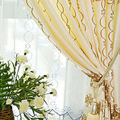 (Two Panels) Embroidery Yellow / Blue Classic Energy Saving Curtains