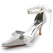 Satin upper Mid Heel Pumps Closed-toes With Rhinestone Wedding Bridal Shoes .More Colors Available
