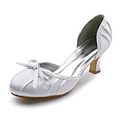 Top Quality Satin Upper Mid Heel Closed-toes With Bow Wedding Shoes/ Bridal Shoes .More Colors Available