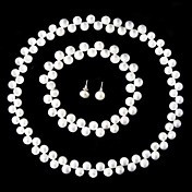 8-9MM Pearl Wedding Jewelry Set  Earrings, 17 Inch Necklace And 7.5 Inch Bracelet