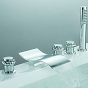 Contemporary Two Handles Waterfall Tub Faucet with Hand Shower (Chrome Finish)