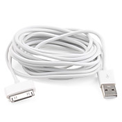 USB Kabel for iPad iPhone og iPod 3m - hvit