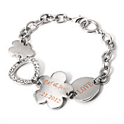 Personalized Silver Chain Bracelet With Flower Charm