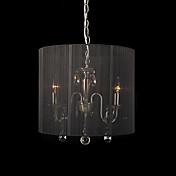 Crystal Pendant Light with 3 Lights in Black Shade