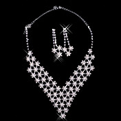 Rhinestone Star Burst Collar Necklace And Earring Set