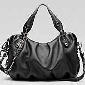 Fashionable Ladies' Black PU Handbag With Chains Side
