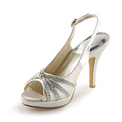 Satin Stiletto Heel Peep Toe / Platform With Rhinestone Wedding / Party Evening Shoes (More Colors Available)