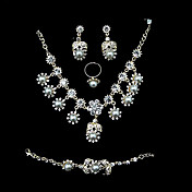 4-piece Jewelry Set – White Pearls In Gold Alloy