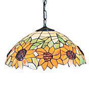 Tiffany Pendant Light with 2 Light in Sunflower Patterned Shade