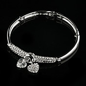 Double Heart Ladies' Rhinestone Charm Bracelet