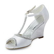 Satin Stiletto Heel Wedges With Beading Wedding Shoes (More Colors Available)