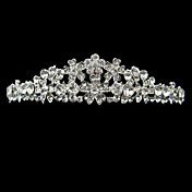 Silver Alloy Rhinestone And Pearl Little Flower Bridal Tiara