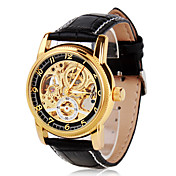 Men's Elegant PU Leather Mechanical Analog Wrist Watch (Black)