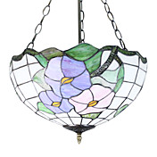 Tiffany Pendant Light with 3 Lights in Pink Blossom Design