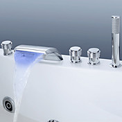 Color Changing LED Waterfall Tub Faucet with Hand Shower (Chrome Finish)
