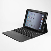 Wireless Bluetooth Keyboard with Protective PU Leather Case Holder for the New iPad (Black)