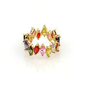 18K Gold Plated & Colorful Cubic Zirconia Ladie's Finger Ring
