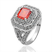 Gorgeous 18K Gold Plated Square Red Crystal Fashion Ring