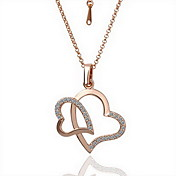 18K Gorgeous Fashion Rhinestone Alloy Kiss Heart Necklace (More Colors)
