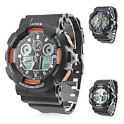 Men's Stylish Multi-Functional Rubber Analog Digital Multi-Movement Wrist Watch (Black)
