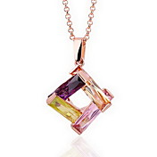 18K Gorgeous Fashion Rhinestone Alloy Four Color Crystal Necklace