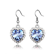 Hearts Stars Austrian Crystal In Real Platinum Plated Ladies' Earrings (More Colors)