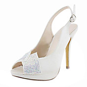 Satin Stiletto Heel Peep Toe / Slingbacks With Rhinestone Wedding Shoes (More Colors Available)