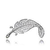Gorgeous Platinum Plated And Crystal Leaf Brooch (More Colors)