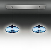 2 - Light Modern Glass Pendant Lights in Blue Bubble Design